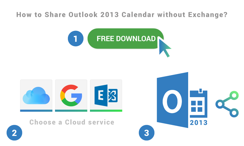 How to share Outlook 2013 calendar without Exchange