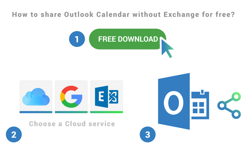 How to share Outlook Calendar without Exchange for free